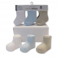 BW-61-2206: Baby Boys 3 Pack Socks (0-6 Months)