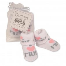BW-6115-2212: Baby Girls Socks in Mesh Bag - I Love Mummy