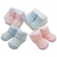 BW-6115-2114: Baby Diamond Pattern Socks in Box - Pink and Sky