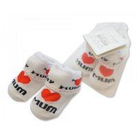 BW-6115-2116: Baby Socks in Mesh Bag - I Love Mum