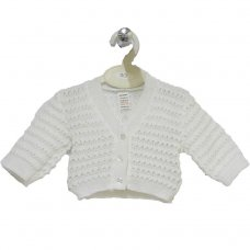 C2-W: Baby White Knitted Cardigan (0-9 Months)