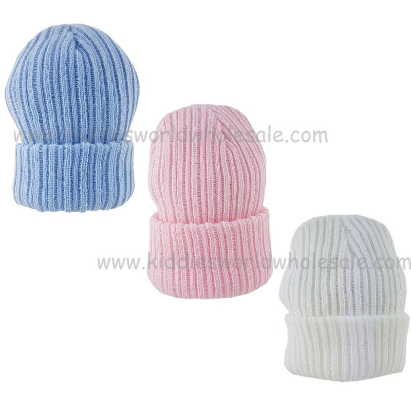 Baby Cable Knitted Ribbed Plain Striped Mittens NB-12 Months