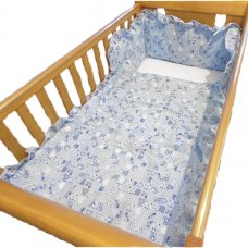 ABC Printed Cot Quilt & Bumper Set: Cream