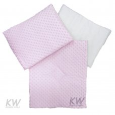 Dimple Velour Pram Quilt Set with Pillow: Pink
