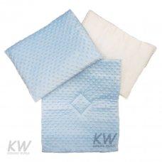 Dimple Velour Pram Quilt Set with Pillow: Blue