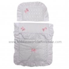 Dolls Broderie Anglaise 2 Piece Pram Quilt Set- White/Pink