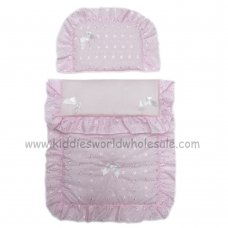 Dolls Broderie Anglaise 2 Piece Pram Quilt Set- Pink/White