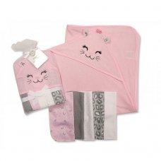 GP-25-0732: Baby Kitten Hooded Towel & 5 Wash Cloths Set