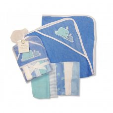 GP-25-0733: Baby Whale Hooded Towel & 5 Wash Cloths Set