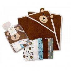 GP-25-0734: Baby Teddy Hooded Towel & 5 Wash Cloths Set