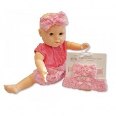 GP-25-0788: Baby Girls Cotton Nappy Cover & Headband Set (0-6 Months)