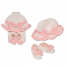 GP-25-0953: Baby Girls Cotton Knitted Hat & Booties Set (One Size)