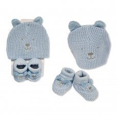 GP-25-0954: Baby Boys Cotton Knitted Hat & Booties Set (One Size)