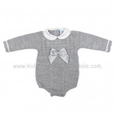 MC301G: Baby Grey Knitted Romper (0-9 Months)