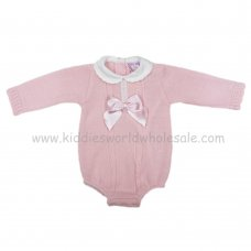 MC303P: Baby Pink Knitted Romper (0-9 Months)