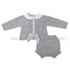 MC304G: Baby Grey Knitted 2 Piece Set (0-9 Months)
