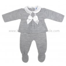 MC305G: Baby Grey Knitted 2 Piece Set (0-9 Months)
