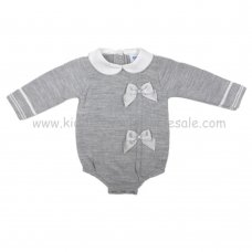 MC310G: Baby Grey Knitted Romper (0-9 Months)