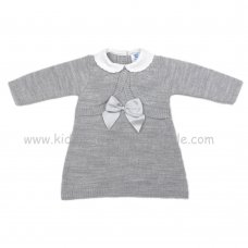 MC318G: Baby Grey Knitted Dress With Mock Bolero (0-9 Months)