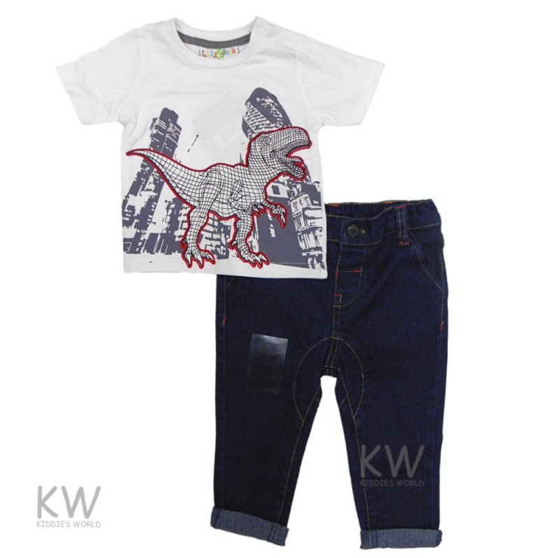 P16552: Baby Boys Dino Printed T-Shirt & Denim Jean Set (6-24 Months)