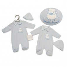 PB-20-332: Premature Baby Boys All In One & Hat Set - Mary Had A Little Lamb