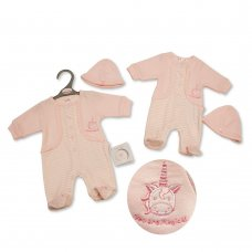 PB-20-337: Premature Baby Girls All In One & Hat Set - Unicorn