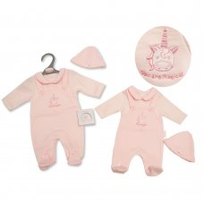 PB-20-340: Premature Baby Girls Mock Dungaree & Hat Set - Unicorn