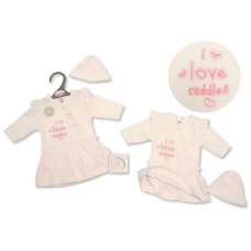 PB-20-341: Premature Baby Girls Bodysuit Dress & Hat Set - I Love Cuddles