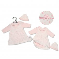 PB-20-343: Premature Baby Girls Bodysuit Dress & Hat Set - I Love Cuddles