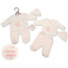 PB-20-344: Premature Baby Girls 3 Piece Set - I Love Cuddles
