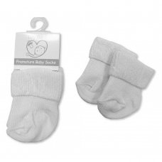 PB-20-470W: Premature Baby Turn Over Socks - White