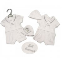 PB-20-488: Premature Boys Just Arrived Romper & Hat Set
