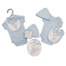PB-20-496: Premature Boys Just Arrived Bear Bodysuit, Bib & Hat Set