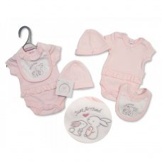 PB-20-499: Premature Girls Just Arrived Bunny Bodysuit, Bib & Hat Set
