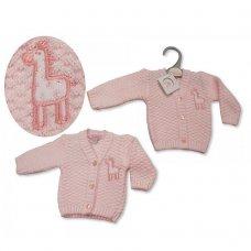 PB-20-918: Premature Baby Girls Knitted Cardigan - Giraffe