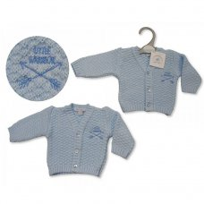 PB-20-927: Premature Baby Boys Knitted Cardigan - Little Warrior