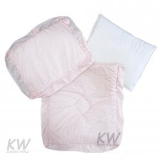 Broderie Anglaise 3 Pce Pram Quilt Set: Pink