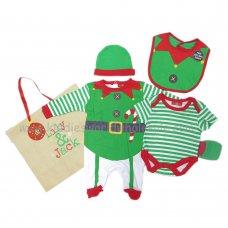 Q17803: Baby Christmas Elf 6 Piece Net Bag Gift Set (NB-6 Months)