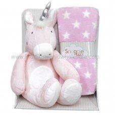 Q17812: Baby 'Girls Unicorn Soft Toy & Star Blanket