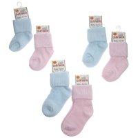 S58-PB: Plain Pink & Blue TOT Cotton Socks (3-24 Months)