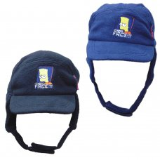 SIM1: Boys Bart Simpson Fleece Cap with Chin Strap (6-14 Years)