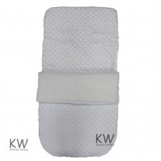 Dimple Velour Padded Footmuff/Cosytoe: White