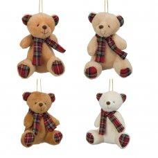 XM5470: Christmas Teddy with Tartan Scarf Hanging Decorations (4 Designs)