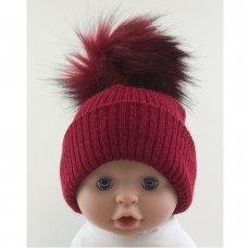 BW-0503-0606R-MED/LRG: Baby Red  Pom-Pom Hat (6-18 Months)