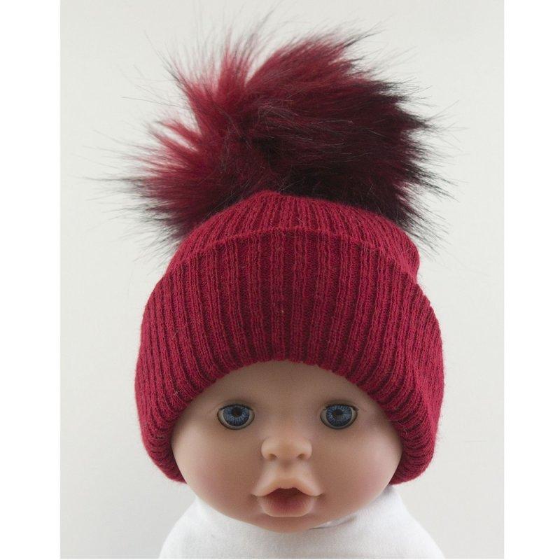 BW-0503-0605R-ES/SM: Baby Red Pom-Pom Hat (0-6 Months)