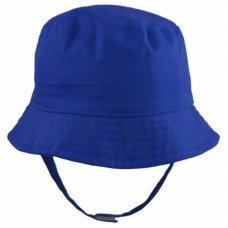 0192-Royal: Baby Boys Plain Bucket Hat With Chin Strap (0-12 Months)