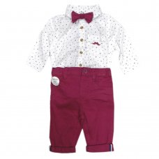 S19864: Baby Boys Bodysuit Shirt With Bow Tie & Chino Pant  Outfit (0-18 Months)