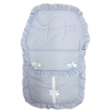 Plain Sky Footmuff/ Cosytoe With Bows & Lace