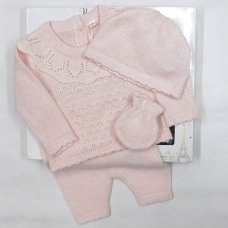V21122-Pink: Baby Knitted 4 Piece Outfit In A Gift Box (NB-6 Months)