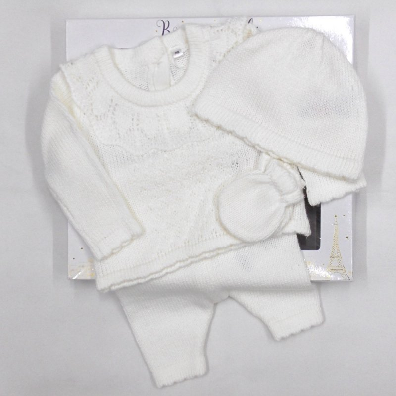 V21122-Cream: Baby Knitted 4 Piece Outfit In A Gift Box (NB-6 Months)